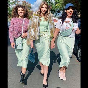 Wild Fable Mint Lime Green Midi Slip Skirt